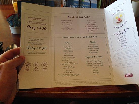 Brewers Fayre - The Honourable Pilot: Breakfast menu