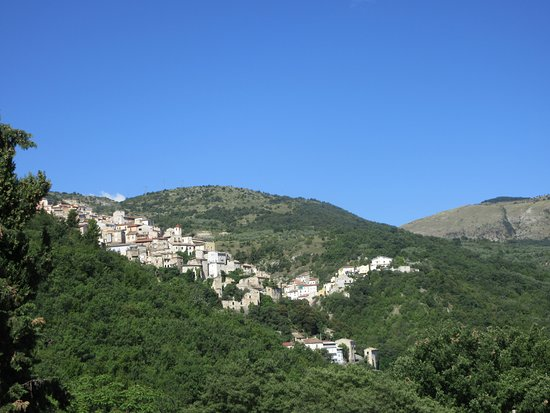 The town of Prezza in the mountains.