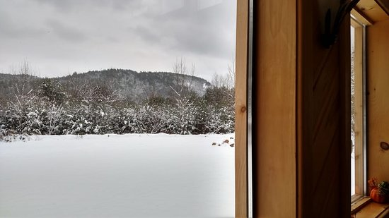Elizabethtown, NY: Winter view from the dining room - outside dining and games area in summer.