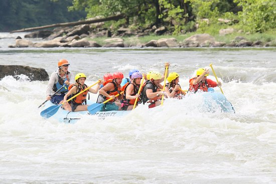 New & Gauley River Adventures: our group going down the river