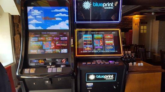 The Green Man: Blueprint gaming machines near bar