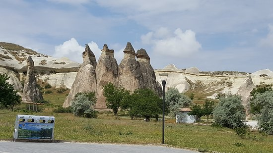 Fairy Chimneys: A view of the rock formations from the parking lot