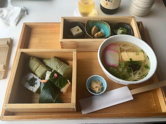 Kaki No Ha Wrapped Sushi With Noodles And Pickles At Izasa Todaiji