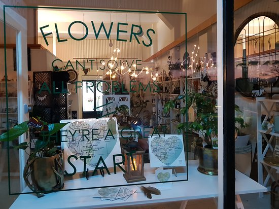 Bloom' n Loco: flowers can't solve all problems but they are a great start - on bloom 'n locos window
