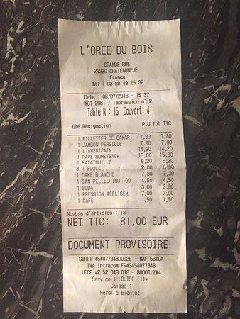 Chateauneuf, Fransa: addition pour 4 petits mangeurs