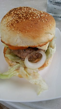 Hangover Resto Bar: hangover beef burger, also available in chicken and pork.