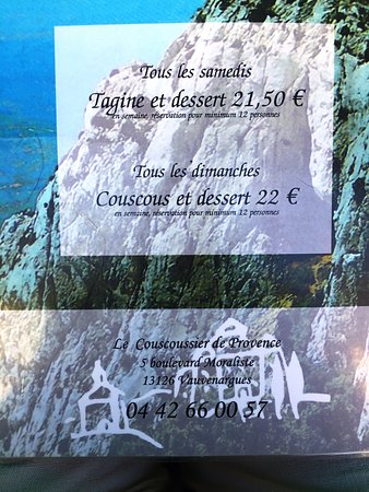 Vauvenargues, Francja: Menu du jour