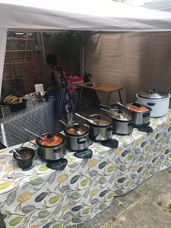 Set up in the garden, as market stall