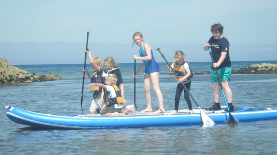 Rothes, UK: Out on our Mega SUP board, lots of fun to be had.