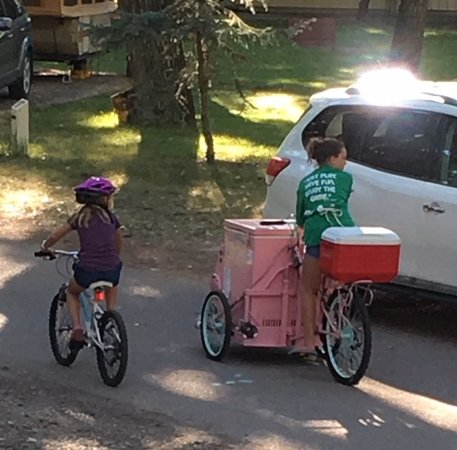 The pink ice-cream cart that goes through Taber Municipal RV Park