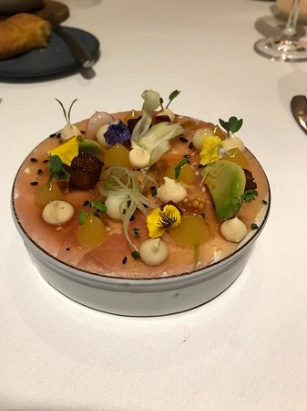 La Colombe: Salmon tartare with micro greens, florals and pureed root vegatables