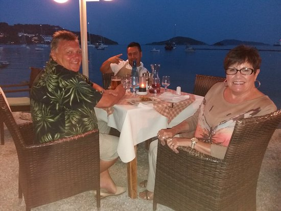 Limanaki: The view at dinner. ANGELO photo bombing again.