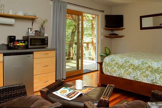 Coho Cottages: Village Cabin interior, Queen bed, kitchenette