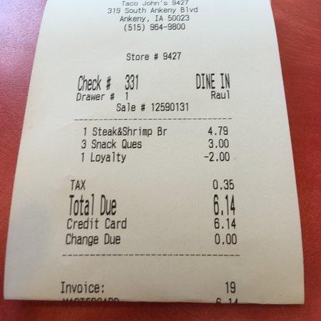 Taco John's: Cheese snack quesadilla & steak&shrimp burrito