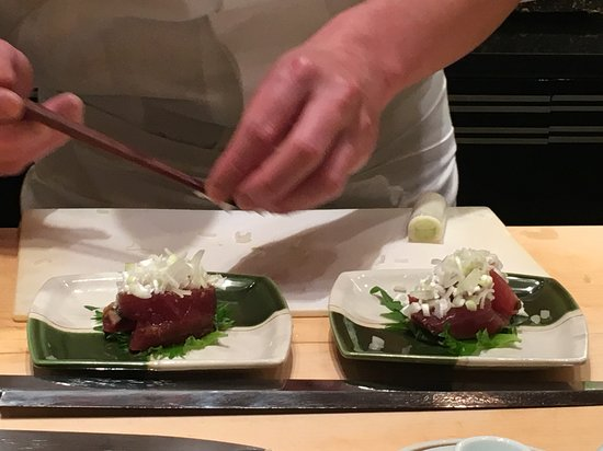 Kyubey Ginza Honten: I think this was another tuna option but with leeks on top
