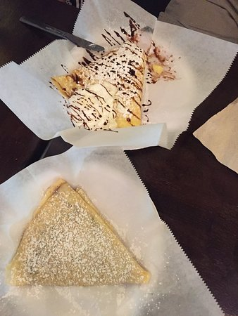 The French Market Creperie: Bavarian Custard and Chocolate Crepe, Cinnamon and Sugar Crepe