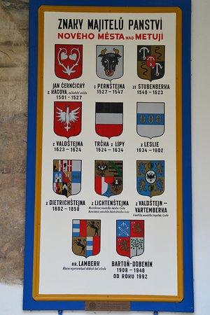 Zamek Nove Mesto Nad Metuji: Семейные гербы владельцев