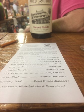 Old South Winery: List of wines available