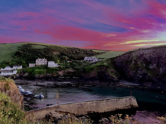 Harbour, Port Isaac, Cornwall: The view from the terrace of our little cottage.