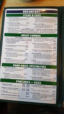 Mauston Park Oasis Restaurant: breakfast menu