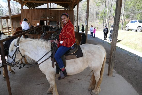 Blanche Manor Horseback Riding : Here is V on her horse (Seabiscuit).  A little slow and not so willing to cooperate sometimes.