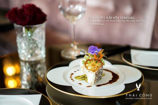 Thai Cong Interior Design & Restaurant: Steamed Black Cod with Teriyaki Sauce, Lotus Root Chips, Micro Salad