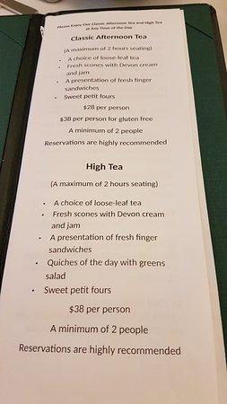 After Queen Tea Shop: Menu