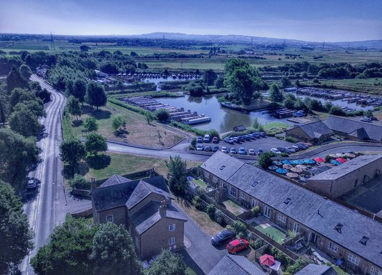 Rufford, UK : Aerial view with marina