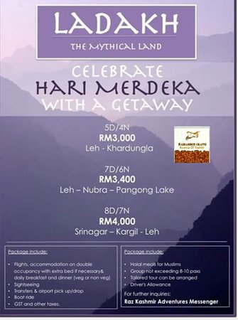 Raz Kashmir Crafts: TRAVEL LADAKH MERDEKA PROMO