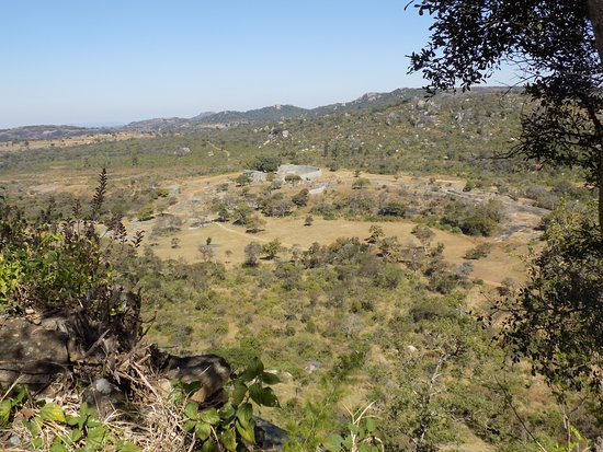 Masvingo, Zimbabwe: Great Zimbabwe: view of Great Enclosure and Valley Ruins from the Hill Complex