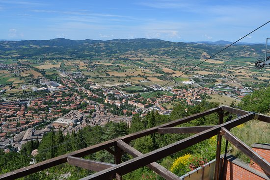 Get Tours: Looking over Gubbio from the top of the Funicular