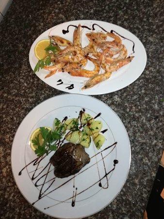beef fillet & grilled shrimps