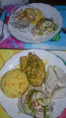 Calibishie, Dominica: The shrimp dinner and the fish dinner
