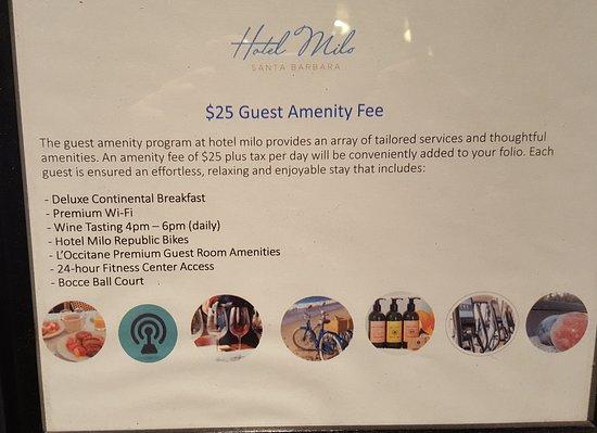 Hotel Milo Santa Barbara: Amenitys charge