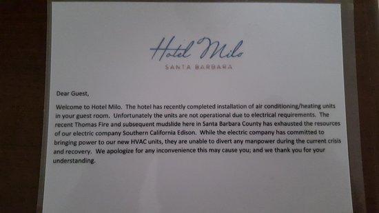 Hotel Milo Santa Barbara: AC note in room