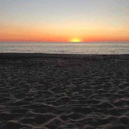 July Sunset on Lake Michigan at Lakeside Inn's beach.