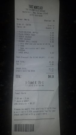 Toast: Here is my receipt. You can get a feel for the pricing at the restaurant.
