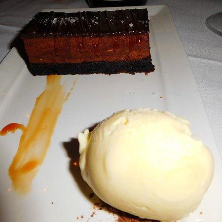 Kenilworth, NJ: dark chocolate and caramel mousse torte, chocolate olive oil cake, fleur de sel, mascarpone gela