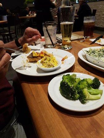 Salmon & Shrimp, Broccoli Cheese Casserole and Steamed Broccoli.