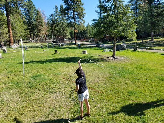 """Marion, MT: lesson on throwing a lasso to rope a """"calf"""""""