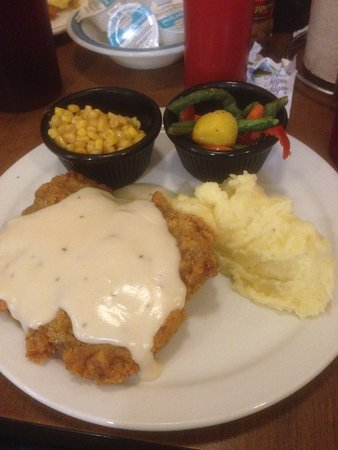 West, TX: Chickenfried steak, mashed potatoes, corn, veggies.