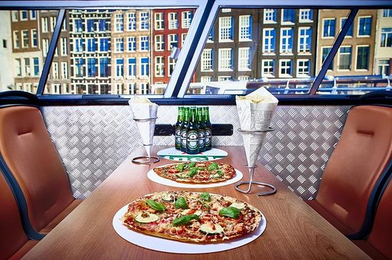 Pizza-Bootstour bei Nacht in Amsterdam