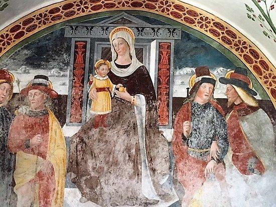 Esine, Chiesa di Santa Maria Assunta: Madonna della mela con santi taumaturghi