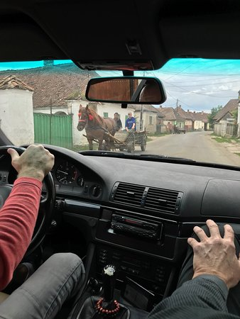 A Romanian cart seen from inside the car