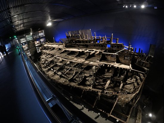 Portsmouth, UK: The Mary Rose, seen from the top deck of the museum