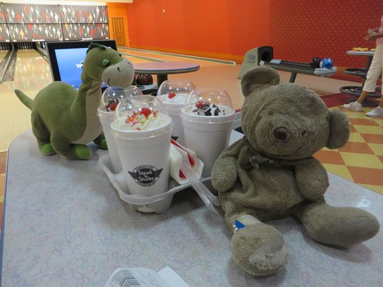 Steak 'n Shake: Took Happy Hour shakes upstairs to bowling center