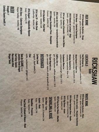 Rickshaw Bar: drink menu