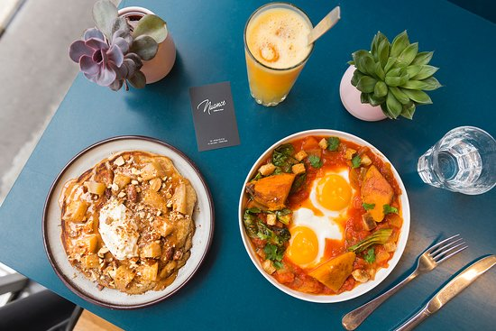 Brunch with pancakes & huevos rancheros. - Picture of Nuance ...