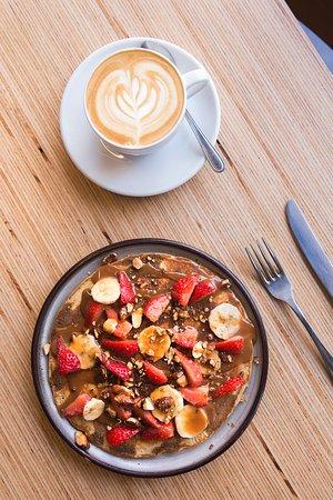 Fresh fruits summer pancakes & latte - Picture of Nuance, Paris ...