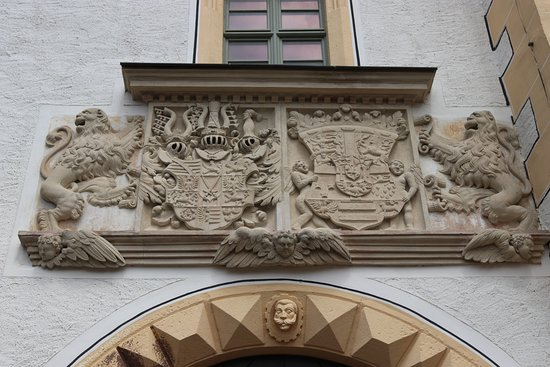 Colditz, Germany: Coat of arms over entrance